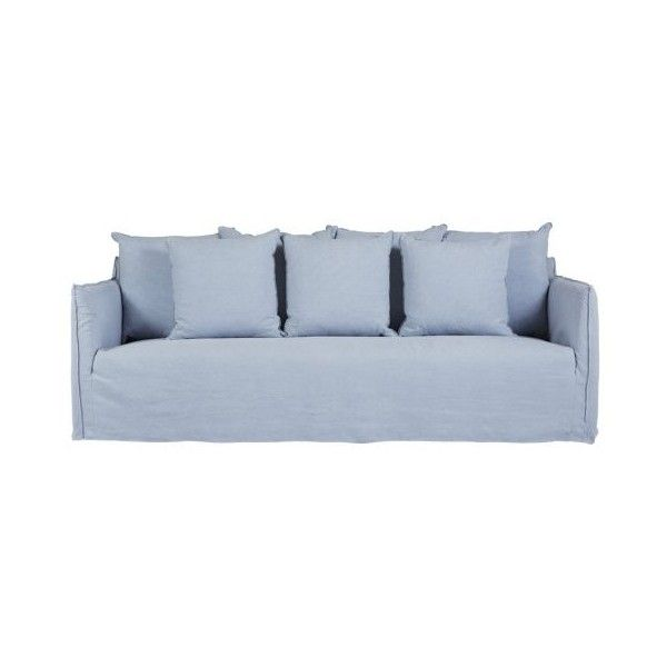 this modern designer light blue slipcover sofa is made from washed italian linen which is removable and washable