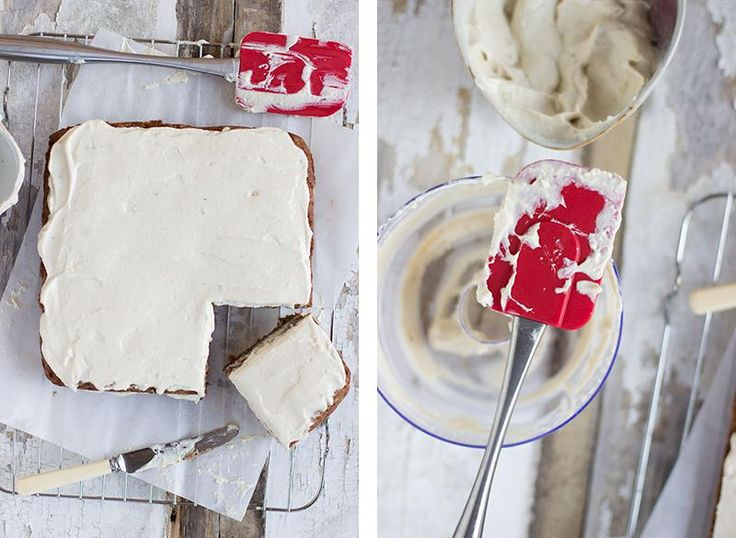 banana cake: gluten free pumpkin banana cake with vanilla frosting