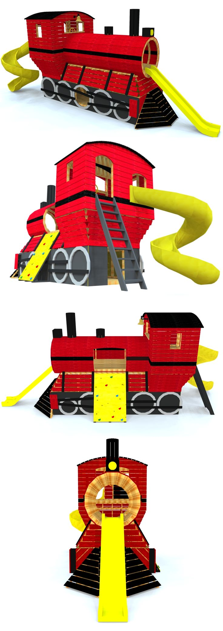 "The ""Train"" playhouse plan located on paulsplayhouses.com.  Perfect for little boys who love old steam engines!"