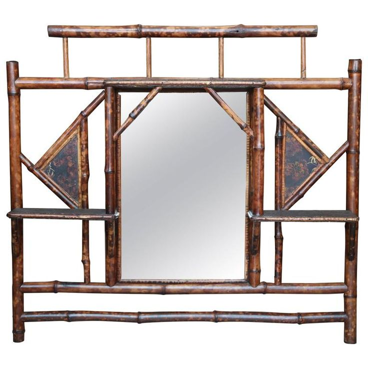 19th Century English Lacquer Bamboo Overmantel Mirror | From a unique collection of antique and modern mantel mirrors and fireplace mirrors at https://www.1stdibs.com/furniture/mirrors/mantel-mirrors-fireplace-mirrors/