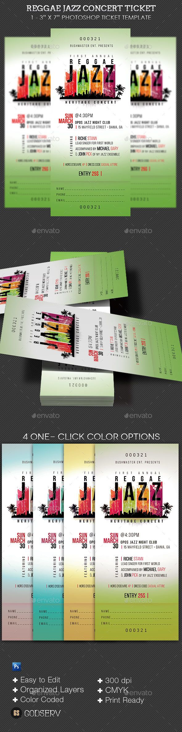 Reggae Jazz #Event #Ticket Template - Miscellaneous Print Templates Download here: https://graphicriver.net/item/reggae-jazz-event-ticket-template/19535232?ref=alena994