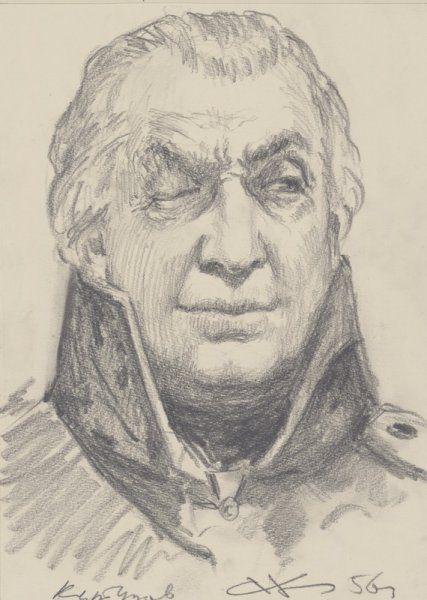 Николаев Андрей Владимирович (1922—2013) Кутузов. Эскизный портрет. Иллюстрация к роману «Война и мир». 1956 г. Бумага, графитный карандаш