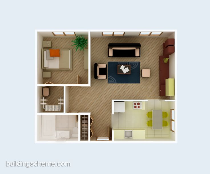 Good 3d building scheme and floor plans ideas for house for Simple house design