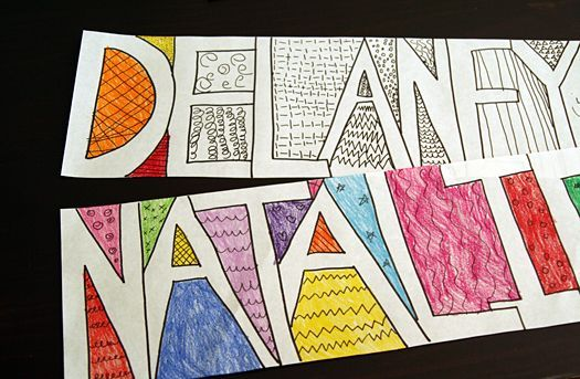 doodle names drawing activity for kids - Zentangle - Negative Space - Art Lesson Idea - First Day of Art