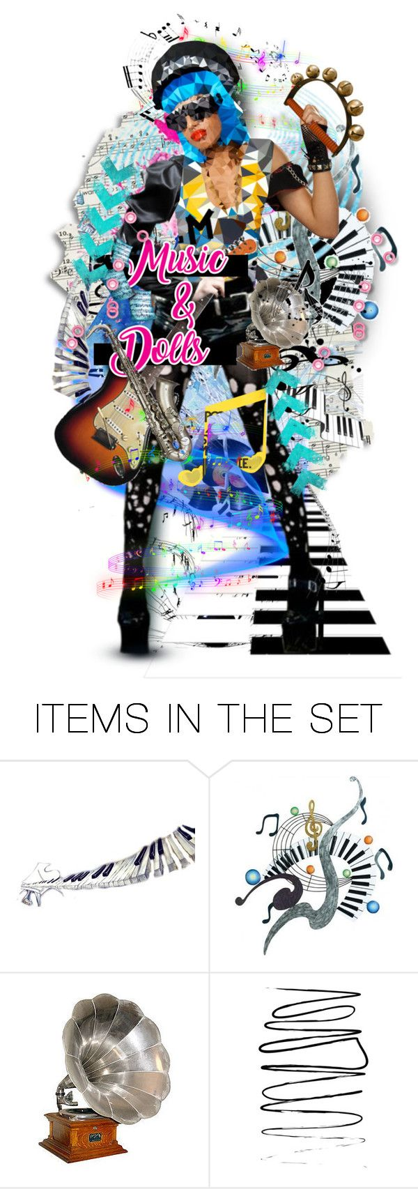 Music & Dolls by gailwind on Polyvore featuring art, illustrations, music, dolls, rocknroll and gailwind
