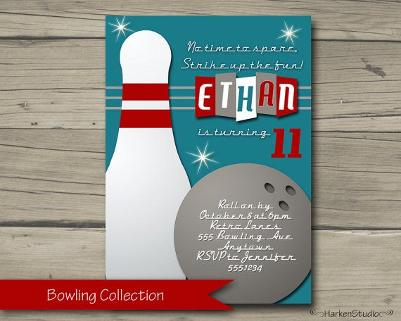 Best Retro Bowling Party Invitation Images On