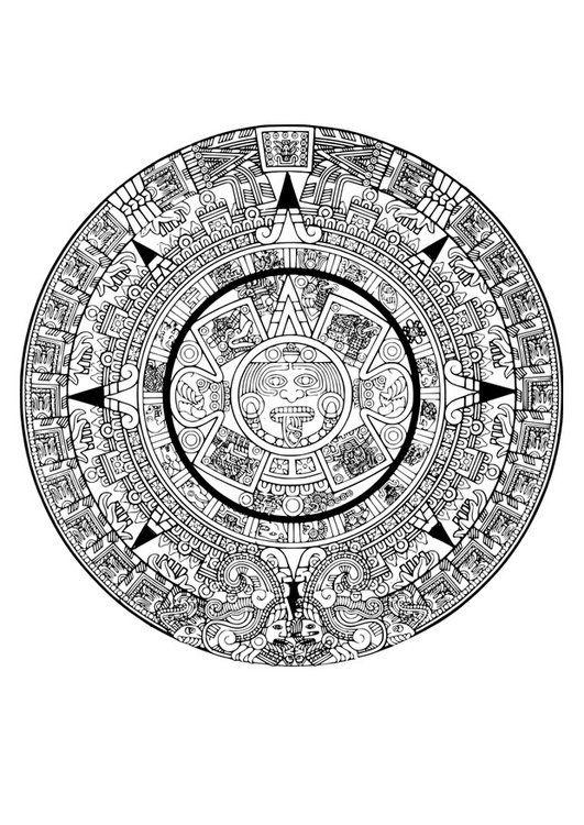 Dibujo para colorear calendario azteca   Dibujos en 2019   Aztec ...
