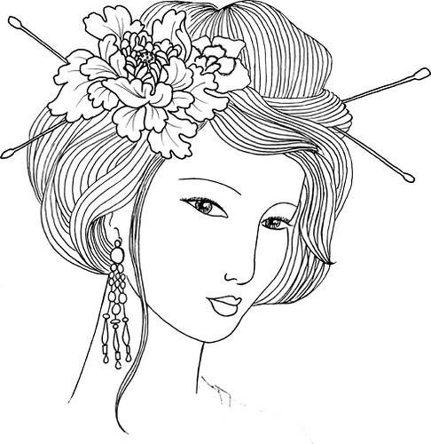 17 best images about women on pinterest coloring lady - Geishas para pintar ...