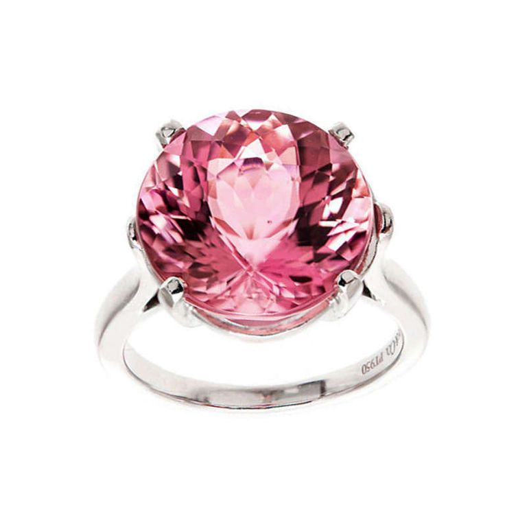 Tiffany Natural 8.59ct Certified Pink Tourmaline Platinum Ring. Original Tiffany + Co solid Platinum ring. Certified natural no heat super bright medium pink gem cut round Tourmaline. Sold at Tiffany New York circa 1960 to 1970. Extremely well cut and polished. It is very rare for a find a pink tourmaline of this size to be rated as natural with no enhancements. True 1stdibs world class, one of a kind rarity and beauty.