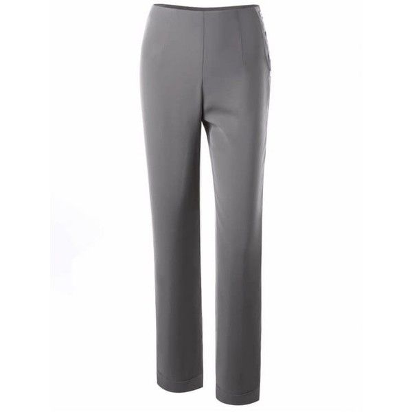 Button Side Dress Pants ($21) ❤ liked on Polyvore featuring pants, white suit pants, slacks trousers, suit pants, slacks pants and white trousers