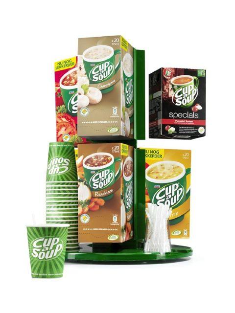 Dit handige draaisysteem is een doorslaand succes! Met de Carrousel kunt u zes verschillende smaken Cup-a-Soup tegelijkertijd presenteren. Bovendien is er op de Carrousel ruimte voor bekers en roerstaafjes. Ideaal voor elke koffiehoek!