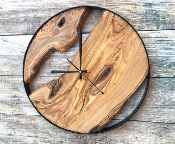 Wood Wall Clock Wooden Clock Natural Wood Clock Wooden Wall Clock Clocks For Wall Rustic Wall Clock Unique Wall Clock In 2020 Rustic Wall Clocks Wood Clocks Wall Clock Wooden