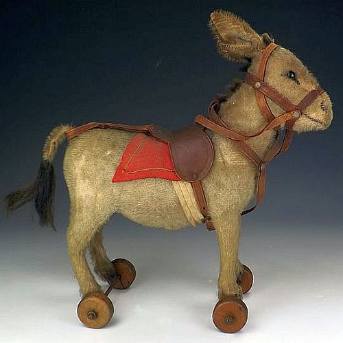 Antique Steiff Donkey on Wheels.