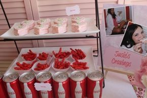 A craving section at a baby shower is the freshest and most fun baby shower idea I've heard in a while. CUTE CUTE
