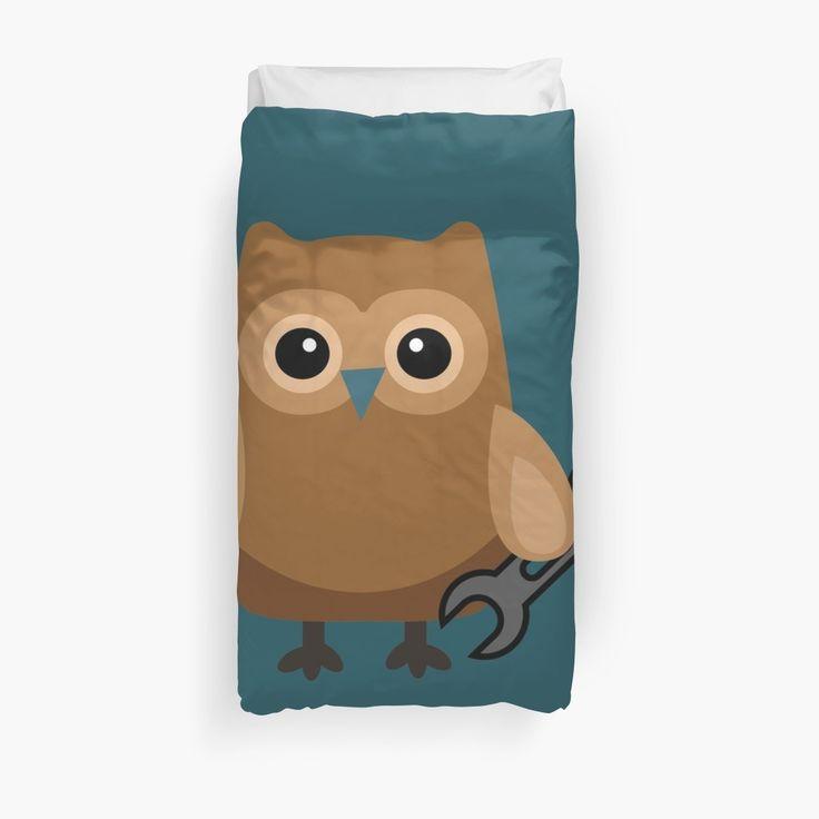 Cute Brown Owl Engineer Mechanic Duvet, Brown Owl Bedding