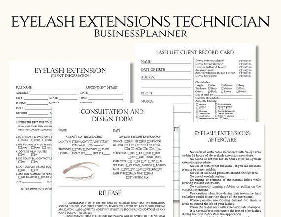 Editable Eyelash Extensions Technician Forms Printable Lash Form