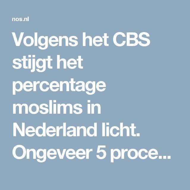 Volgens het CBS stijgthet percentage moslims in Nederland licht. Ongeveer5 procent van alle volwassenen in Nederland noemt zich moslim, blijk uit een jaarlijkse enquête onder ongeveer 100.000 van mensen ouder dan 15. Als je dat omrekent naar de totale bevolking kom je op ongeveer 850.000 moslims.Het Amerikaanse onderzoeksbureau Pew Research gaat uit van 6 procent, ongeveer 1 miljoen moslims.