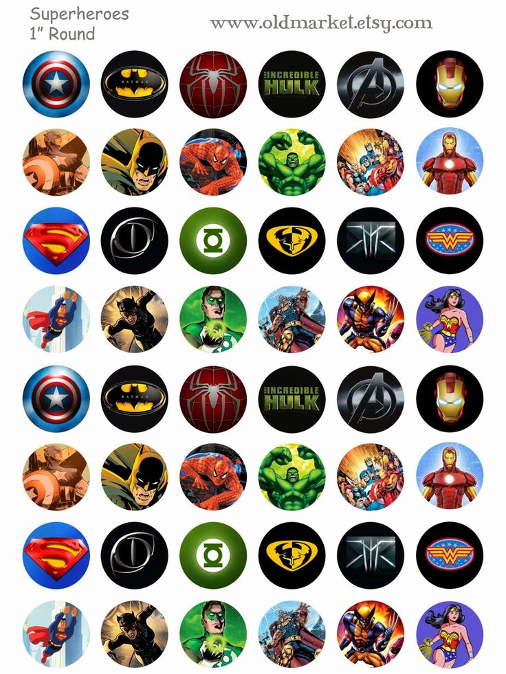 FREE Superhero Bottle Cap Collage Sheet, includes Spiderman, batman, the hulk, thor, ironman, captain america, superman, wonder woman, xmen