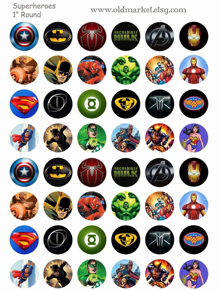 FREE Superhero Bottle Cap Collage Sheet, includes Spiderman, batman, the hulk, thor, ironman, captain america, superman, wonder woman, xmen