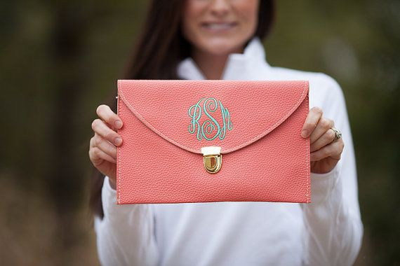 Coral Monogram Clutch Purse by PoppyPine on Etsy, $18.99