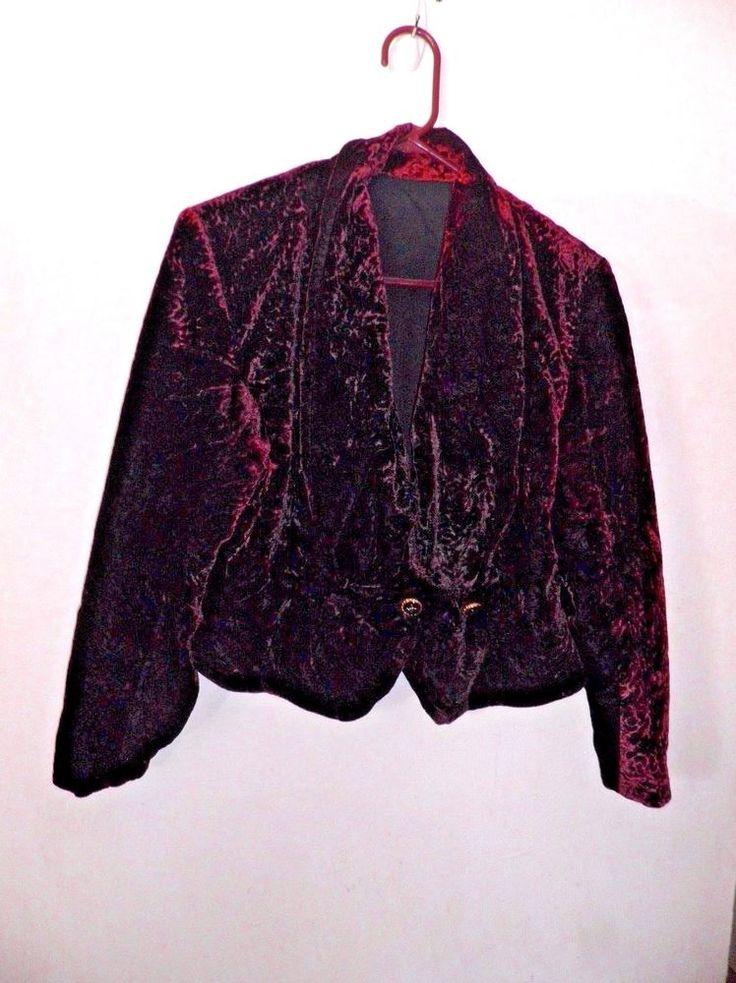 Wine Crushed Velvet Cropped Jacket Yumm! Size #NoTag #CroppedJacket