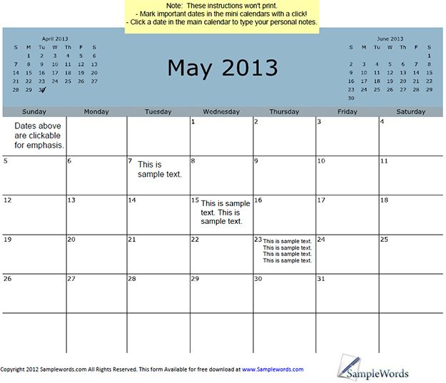 May 2013 Calendar With 3-Month View.  Excellent desktop or wall calendar.  Editable in PDF format.