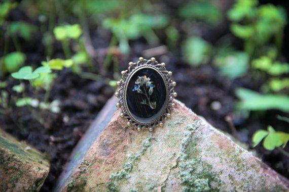 Forget-me-not Myosotis arvensis resin brooch Garden by SavageSpell