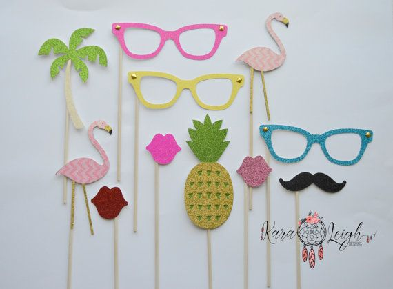 Flamingo - Summer Themed Photo booth props SET of 11