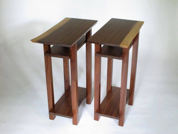 Pair Of Live Edge End Tables Walnut Table Set Narrow Furniture