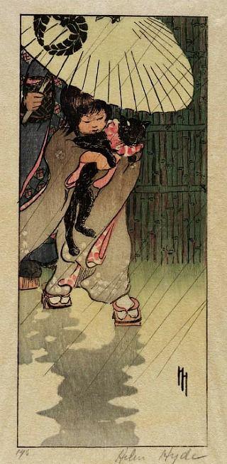 Honorable Mr. Cat | woodcut 1903 | Helen HydeCat Art, Japanese Woodblock, Helen Hyde, Woodcut 1903, Hyde 1903, Cat 1903, Art Oriental, Black Cat, Hyde Honor