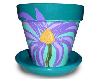 Painted Flower Pot With Purple Cone Flower - 6-inch