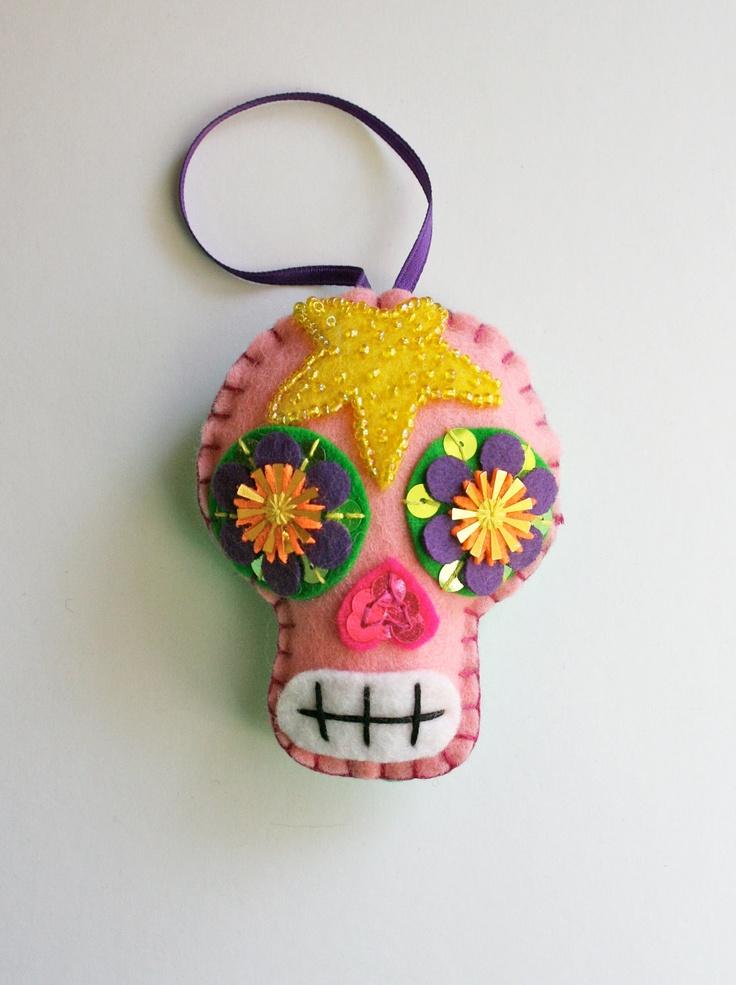 Pink Sugar Skull Ornament - Day of the Dead - Mexican Folk Art