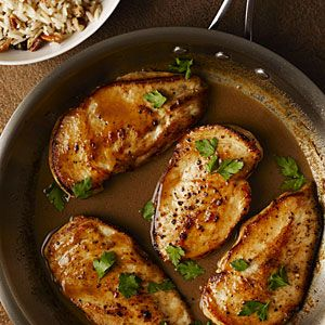 Cider-Glazed Chicken with Browned Butter-Pecan Rice | MyRecipes.com