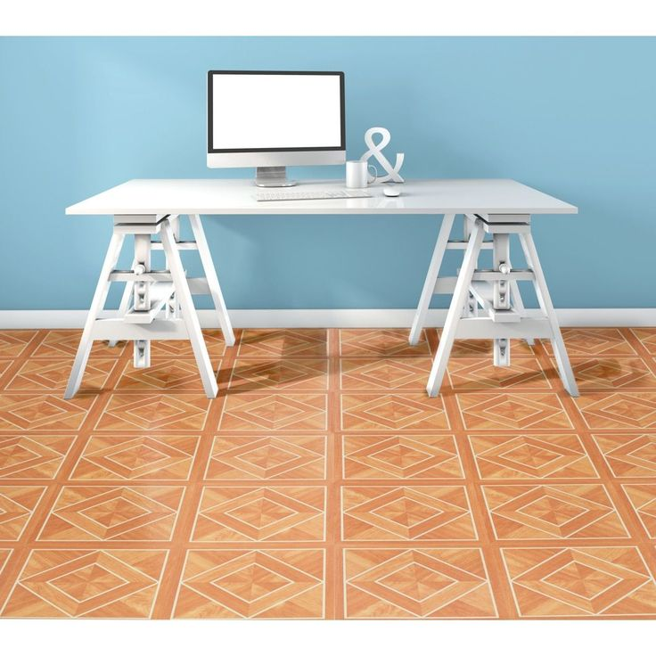 ACHIM Tivoli White Border Classic Inlaid Parquet 12x12 Self Adhesive Floor Tile - 45 Tiles/45 sq Ft.