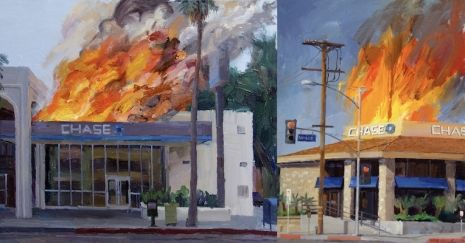 Disaster capitalism: Paintings of Chase Bank burning | Dangerous Minds