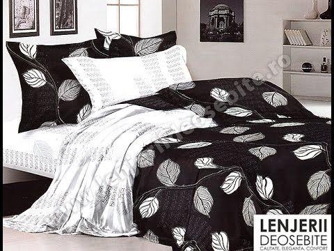 Lenjerie pat de lux alb si negru A-8130 Cumparati aceasta lenjerie de pat intrand aici http://www.lenjeriidepatdeosebite.ro
