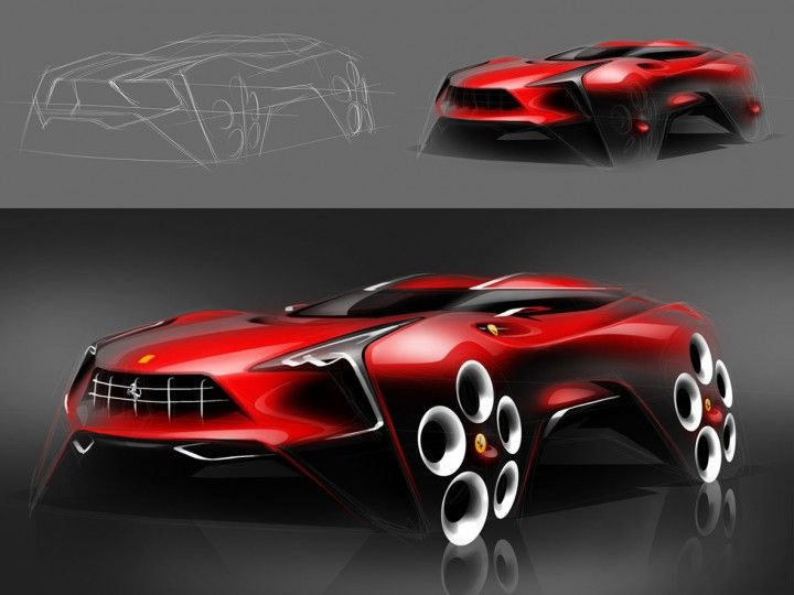 Ferrari Suv Design Sketch Workflow By Boson Ruo Xiang Huang