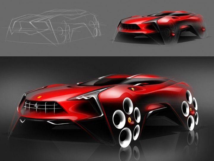 Ferrari SUV design sketch workflow by Boson, Ruo-Xiang Huang