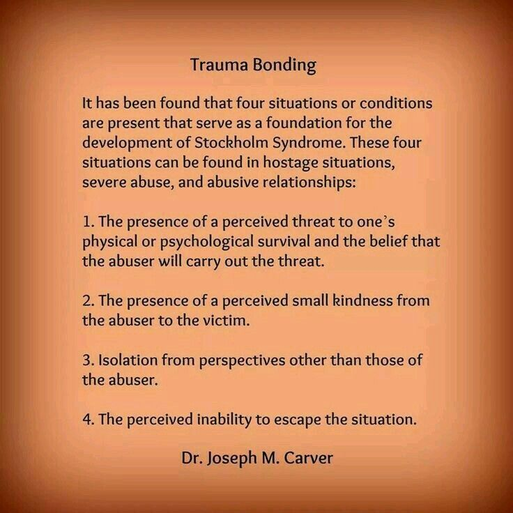 Trauma bonding is common among trauma survivors. It is part of the compulsion to repeat behavioral patterns from our childhoods.