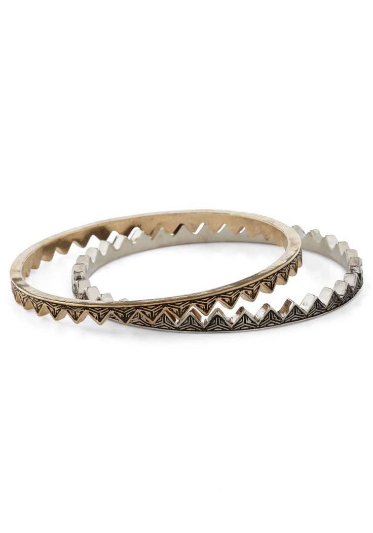 On Jagged Edge Bracelet - Silver, Gold, Party, Casual, Statement, Urban