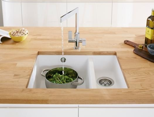 Lamona White Granite Composite 1.5 Bowl Undermount Sink with Lamona Chrome Sorico Monobloc Tap
