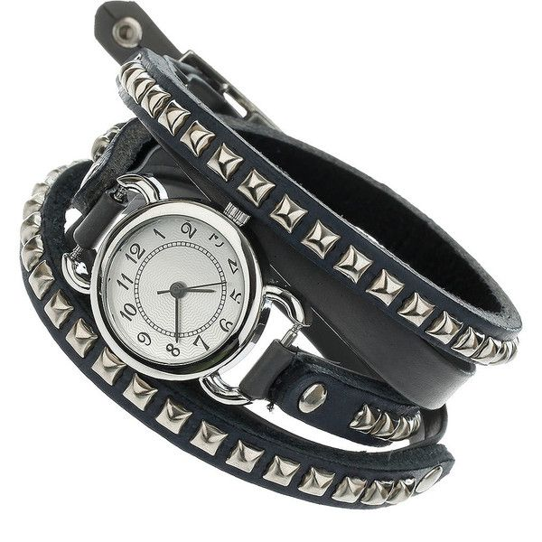 Stud Watch Tie Me Up ($30) ❤ liked on Polyvore featuring jewelry, watches, bracelets, accessories, women, grey jewelry, gray watches, tie jewelry, grey watches and studded watches