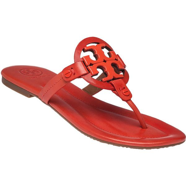 TORY BURCH Miller 2 Poppy Red Leather Flip Flop (€175) ❤ liked on Polyvore featuring shoes, sandals, flip flops, flats, poppy, flat pumps, leather flip flops, leather sandals, red leather sandals and red shoes