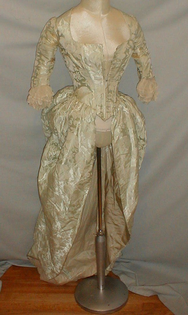 1870's Blue Brocade Dress