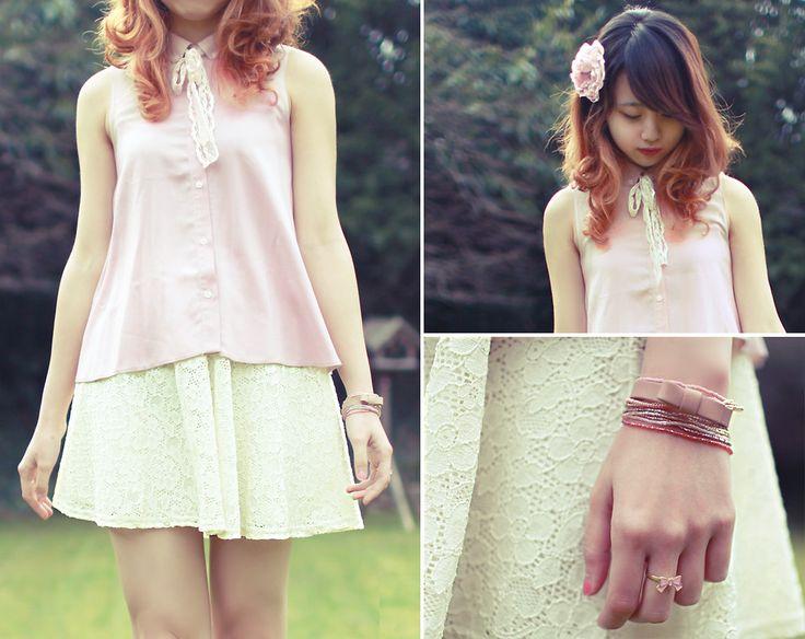 Ngoc Linh Chi Han - Rive Island Pink Blouse, River Island White Lace Skirt, Vero Moda Bow Bracelet, Accessorize Beads Bracelet, Diy Flower Hair Clip - Has Spring Gone?   LOOKBOOK