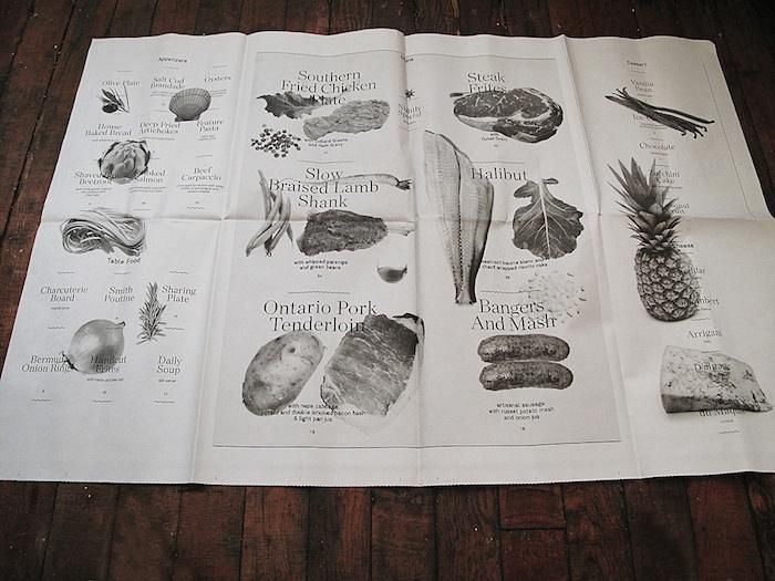 A Restaurant Inspired by Blacksmiths : Remodelista. Menu design printed on newsprint