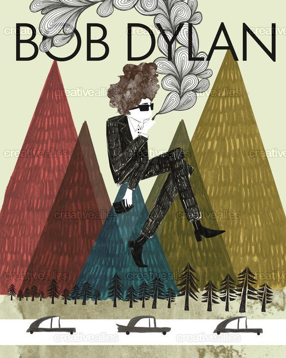 Bob Dylan Poster by Emily Holmes on CreativeAllies.com