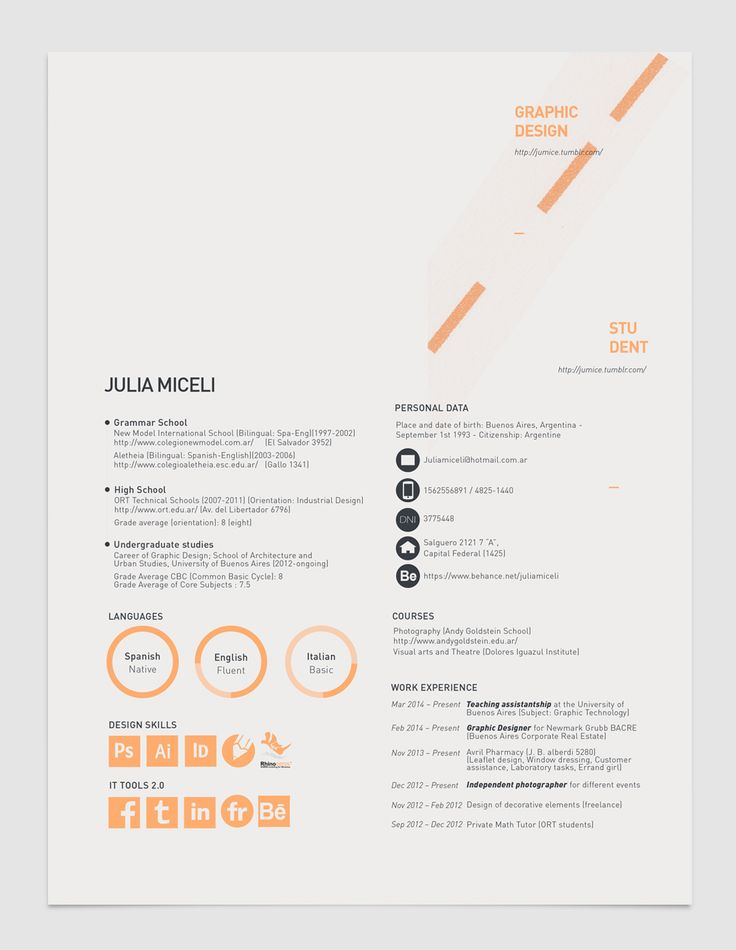 49 best Resume images on Pinterest Creative resume, Resume - layout of a resume