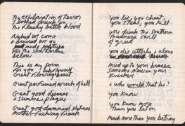 """Jim Morrison, Paris Journal, written shortly before his death in July 1971. Via reccordmecca """"""""The entire notebook consists of one angry, reflective and defiant poem. As there are only three places in..."""