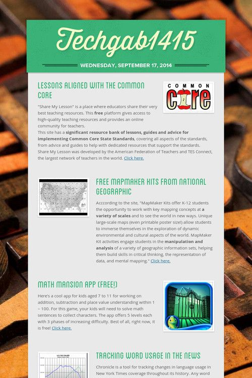 Common Core Lessons, NG Map Maker, Math Mansion App, Tracking Words, Video Writing Prompts